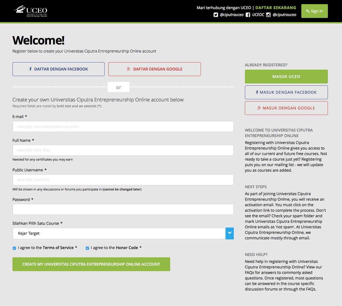Halaman Pendaftaran Ciputra UCEO