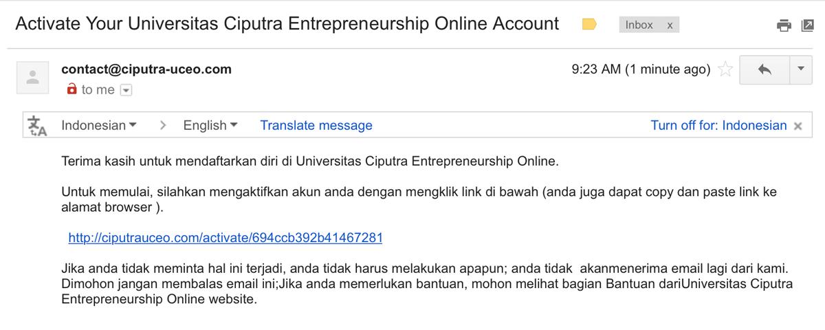 Buka Email Aktivasi