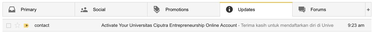 Folder Update Pada Gmail