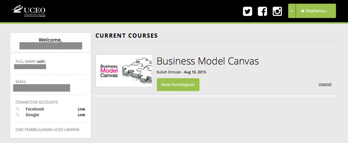Halaman Dashboard untuk Belajar Online di UCEO