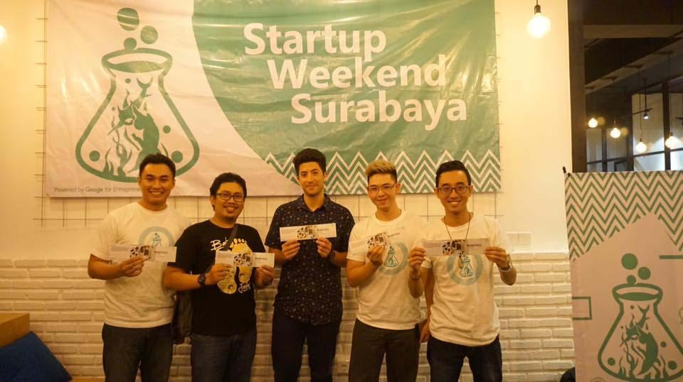 Startup Weekend - MIS UC Juara 1. Peter William (MIS Universitas Ciputra) - kedua dari kanan