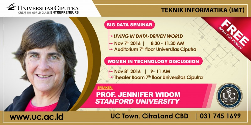 Prof Jennifer Widom - Stanford University dalam Seminar Big Data dan Women in Technology