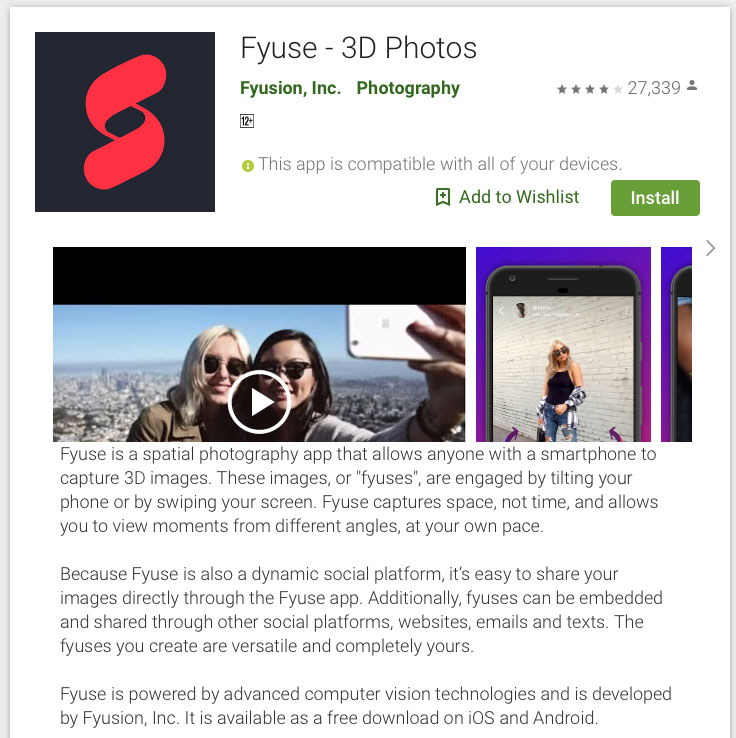 Android 3D Photo Fyuse - Foto 3D Facebook