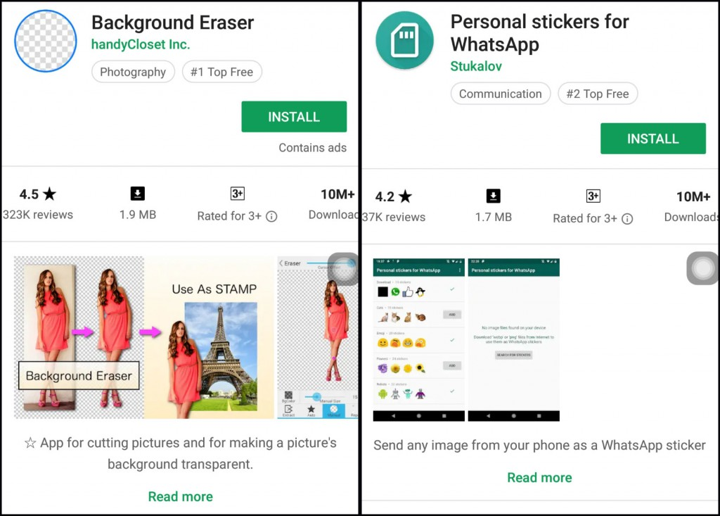 Aplikasi Android Background Eraser dan Personal Sticker for WhatsApp