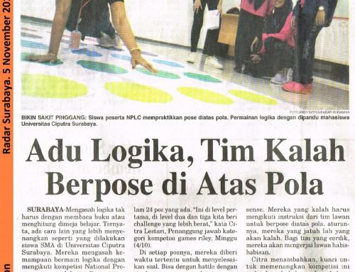 Adu Logika, Tim Kalah Berpose di Atas Pola. Radar Surabaya, 5 November 2018, Hal.8