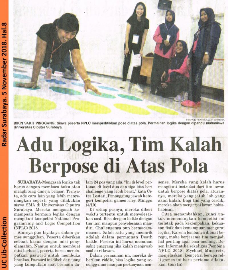 6th NPLC 2018 Adu Logika Tim Kalah Berpose di Atas Pola. Radar Surabaya, 5 November 2018, Hal.8