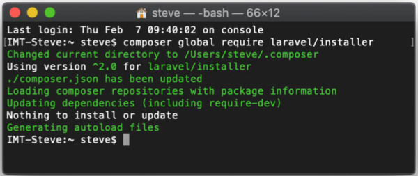 Tampilan Layar pada saat perintah instalasi dijalankan pada system yang telah memiliki Laravel