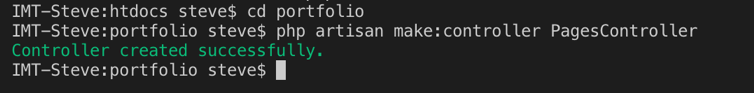 Tampilan hasil membuat Controller