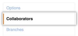 Menu Collaborators untuk berbagi repository Github ke kolaborator